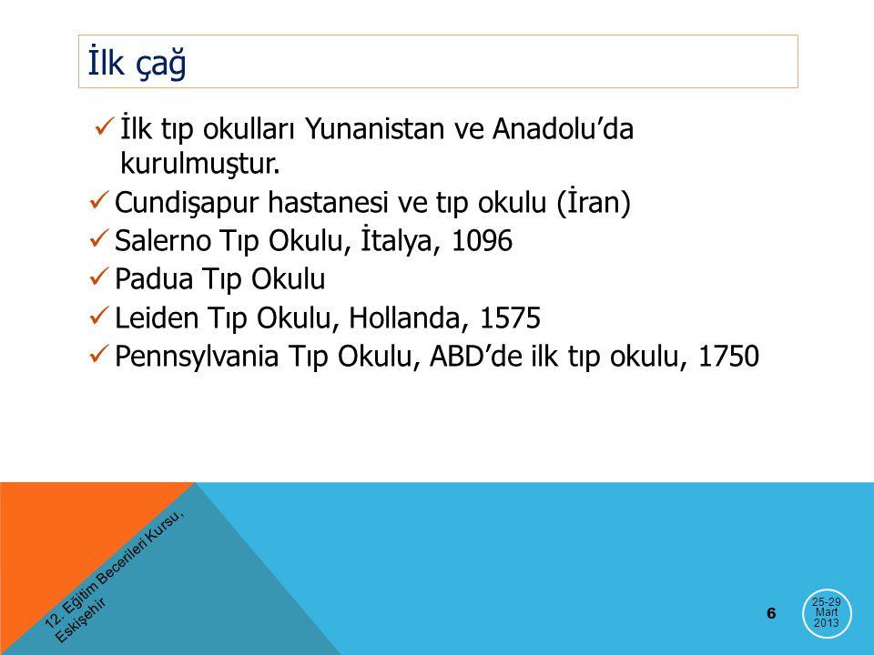 İlk çağ İlk tıp okulları Yunanistan ve Anadolu'da kurulmuştur. Cundişapur hastanesi ve tıp okulu (İran) Salerno Tıp Okulu, İtalya, 1096 Padua Tıp Okul