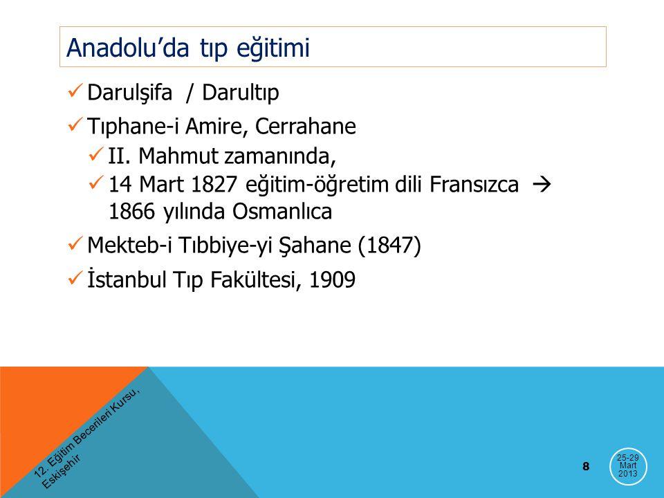 Anadolu'da tıp eğitimi Darulşifa / Darultıp Tıphane-i Amire, Cerrahane II. Mahmut zamanında, 14 Mart 1827 eğitim-öğretim dili Fransızca  1866 yılında