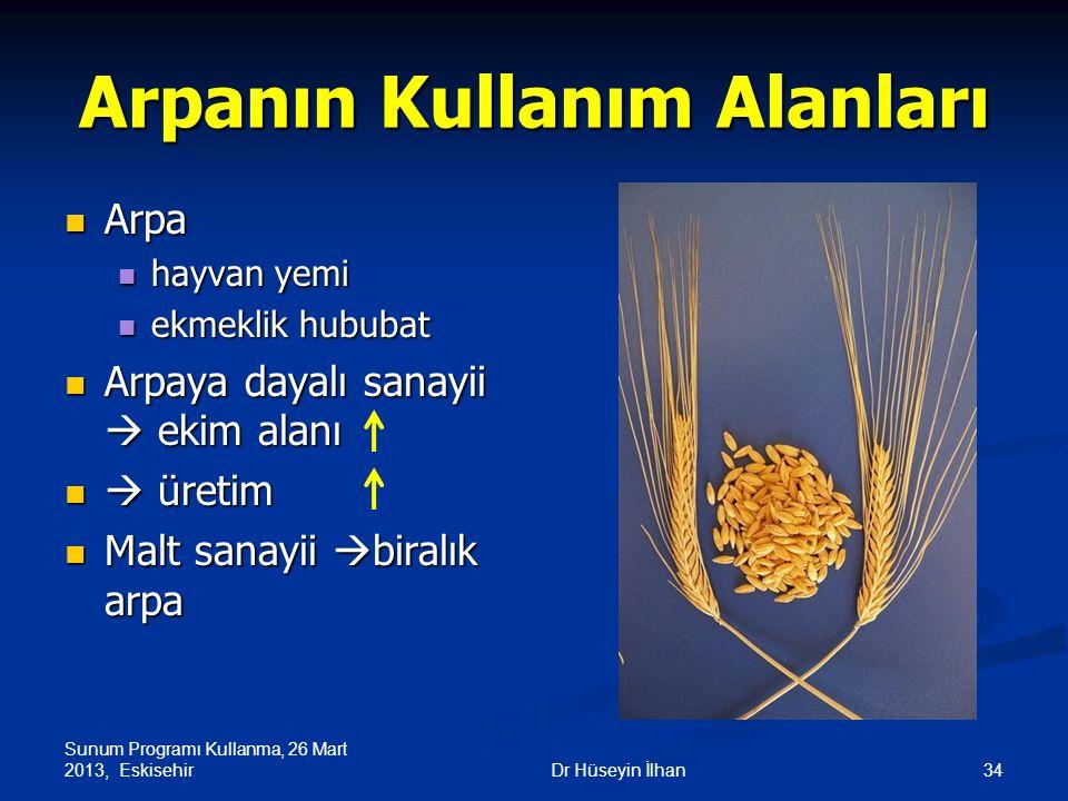 Sunum Programı Kullanma, 26 Mart 2013, Eskisehir 34Dr Hüseyin İlhan Arpanın Kullanım Alanları Arpa Arpa hayvan yemi hayvan yemi ekmeklik hububat ekmek