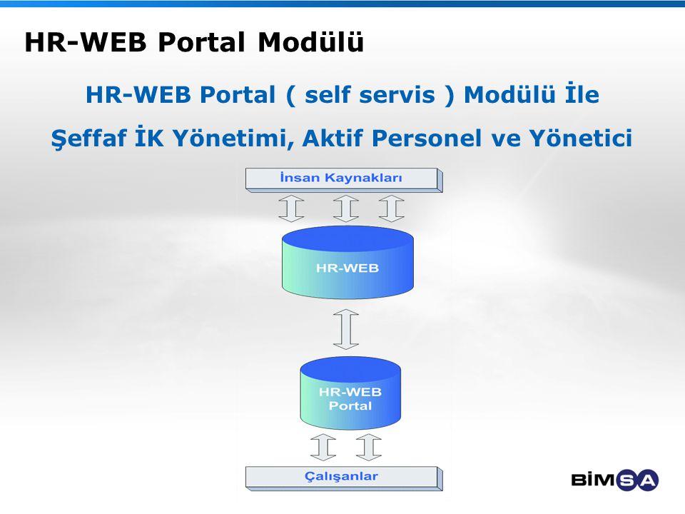 HR-WEB Portal Modülü HR-WEB Portal ( self servis ) Modülü İle Şeffaf İK Yönetimi, Aktif Personel ve Yönetici