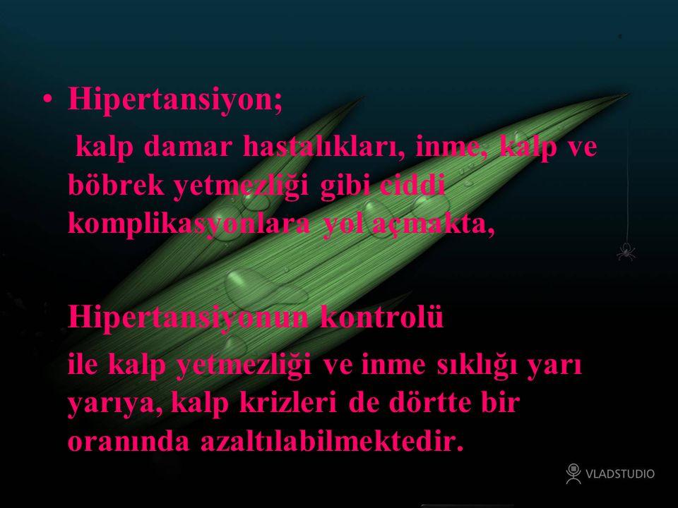 Hipertansiyon; kalp damar hastalıkları, inme, kalp ve böbrek yetmezliği gibi ciddi komplikasyonlara yol açmakta, Hipertansiyonun kontrolü ile kalp yet