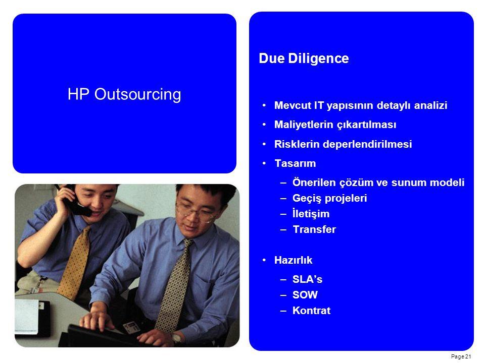 Page 21 HP Outsourcing Due Diligence Mevcut IT yapısının detaylı analizi Maliyetlerin çıkartılması Risklerin deperlendirilmesi Tasarım –Önerilen çözüm ve sunum modeli –Geçiş projeleri –İletişim –Transfer Hazırlık –SLA's –SOW –Kontrat