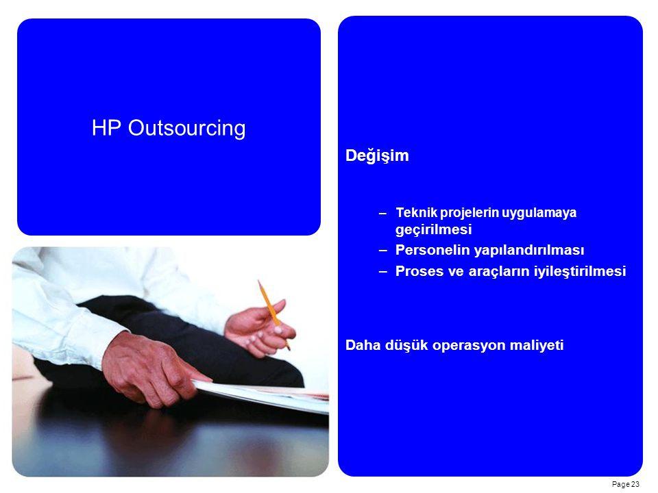 Page 23 Değişim –Teknik projelerin uygulamaya geçirilmesi –Personelin yapılandırılması –Proses ve araçların iyileştirilmesi Daha düşük operasyon maliyeti HP Outsourcing