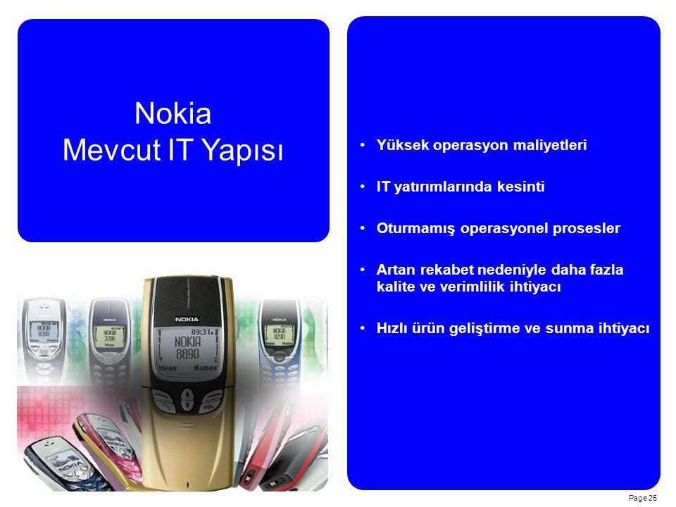 Page 25 Nokia Mevcut IT Yapısı Yüksek operasyon maliyetleri IT yatırımlarında kesinti Oturmamış operasyonel prosesler Artan rekabet nedeniyle daha fazla kalite ve verimlilik ihtiyacı Hızlı ürün geliştirme ve sunma ihtiyacı