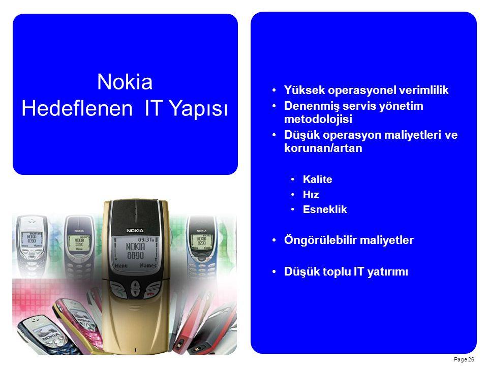 Page 26 Nokia Hedeflenen IT Yapısı Yüksek operasyonel verimlilik Denenmiş servis yönetim metodolojisi Düşük operasyon maliyetleri ve korunan/artan Kalite Hız Esneklik Öngörülebilir maliyetler Düşük toplu IT yatırımı