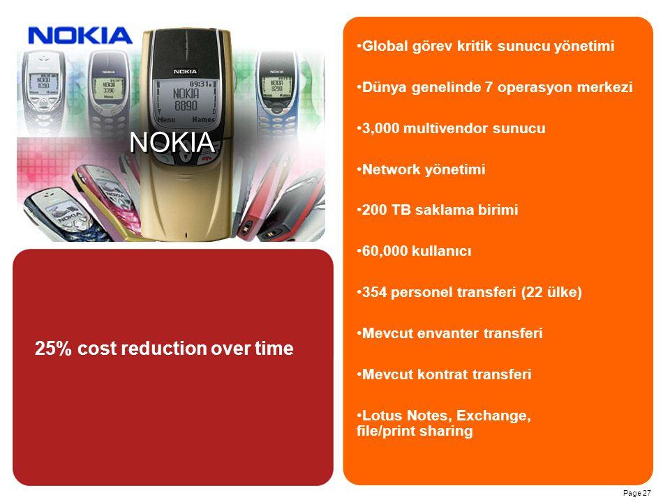 Page 27 NOKIA Global görev kritik sunucu yönetimi Dünya genelinde 7 operasyon merkezi 3,000 multivendor sunucu Network yönetimi 200 TB saklama birimi