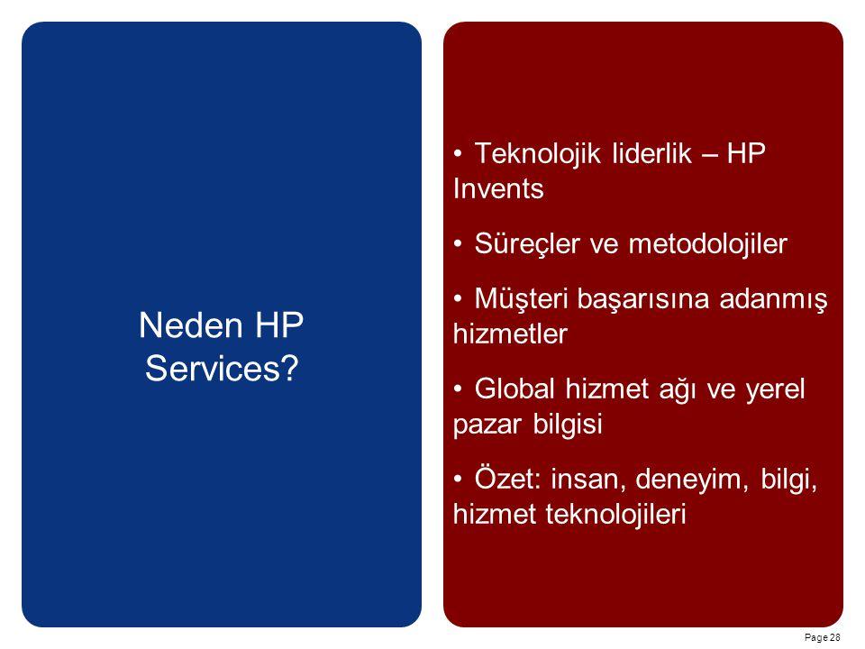 Page 28 Neden HP Services? Teknolojik liderlik – HP Invents Süreçler ve metodolojiler Müşteri başarısına adanmış hizmetler Global hizmet ağı ve yerel