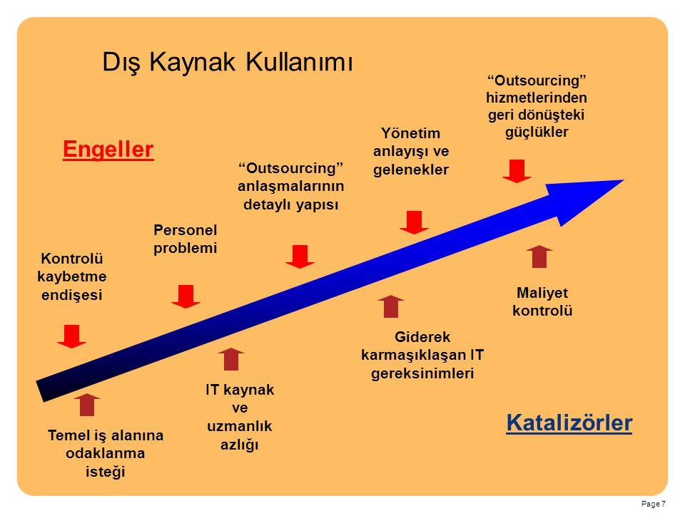 Page 7 Engeller Katalizörler IT kaynak ve uzmanlık azlığı Temel iş alanına odaklanma isteği Personel problemi Kontrolü kaybetme endişesi Giderek karma