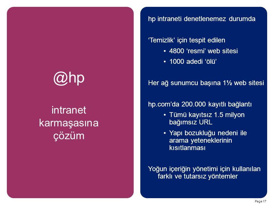 Page 17 @hp intranet karmaşasına çözüm hp intraneti denetlenemez durumda 'Temizlik' için tespit edilen 4800 'resmi' web sitesi 1000 adedi 'ölü' Her ağ sunumcu başına 1½ web sitesi hp.com'da 200.000 kayıtlı bağlantı Tümü kayıtsız 1.5 milyon bağımsız URL Yapı bozukluğu nedeni ile arama yeteneklerinin kısıtlanması Yoğun içeriğin yönetimi için kullanılan farklı ve tutarsız yöntemler