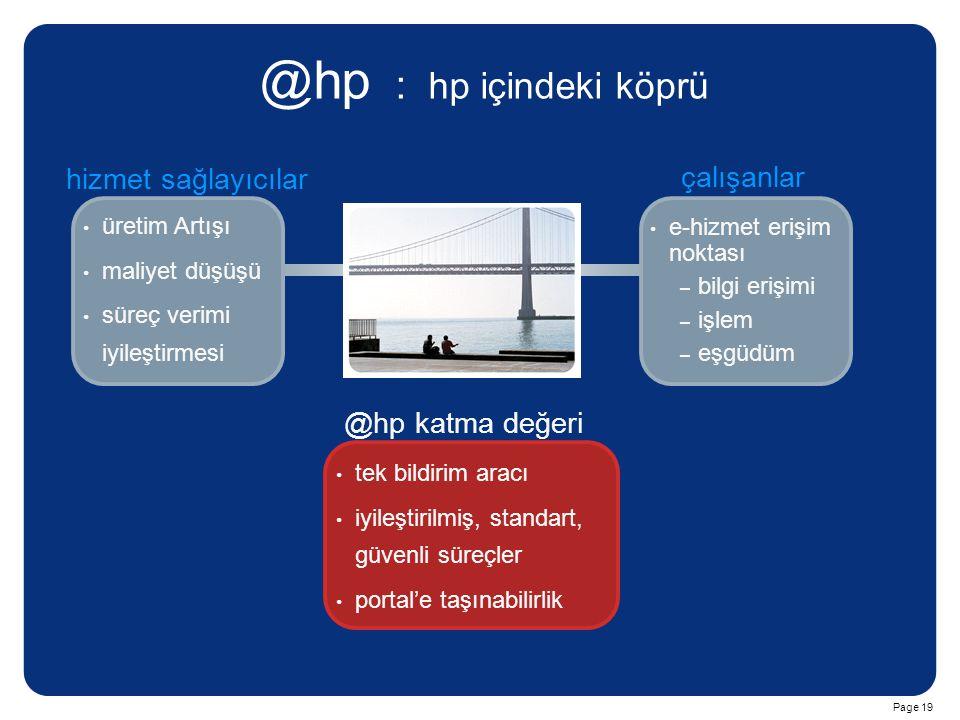 Page 19 @hp : hp içindeki köprü üretim Artışı maliyet düşüşü süreç verimi iyileştirmesi e-hizmet erişim noktası – – bilgi erişimi – – işlem – – eşgüdü