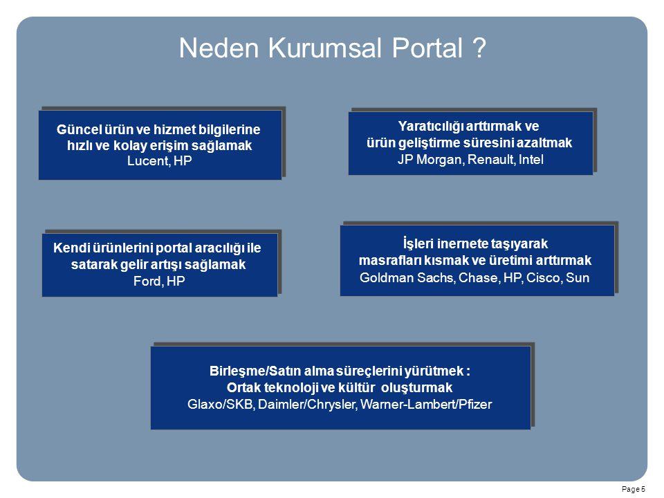 Page 5 Neden Kurumsal Portal ? Birleşme/Satın alma süreçlerini yürütmek : Ortak teknoloji ve kültür oluşturmak Glaxo/SKB, Daimler/Chrysler, Warner-Lam