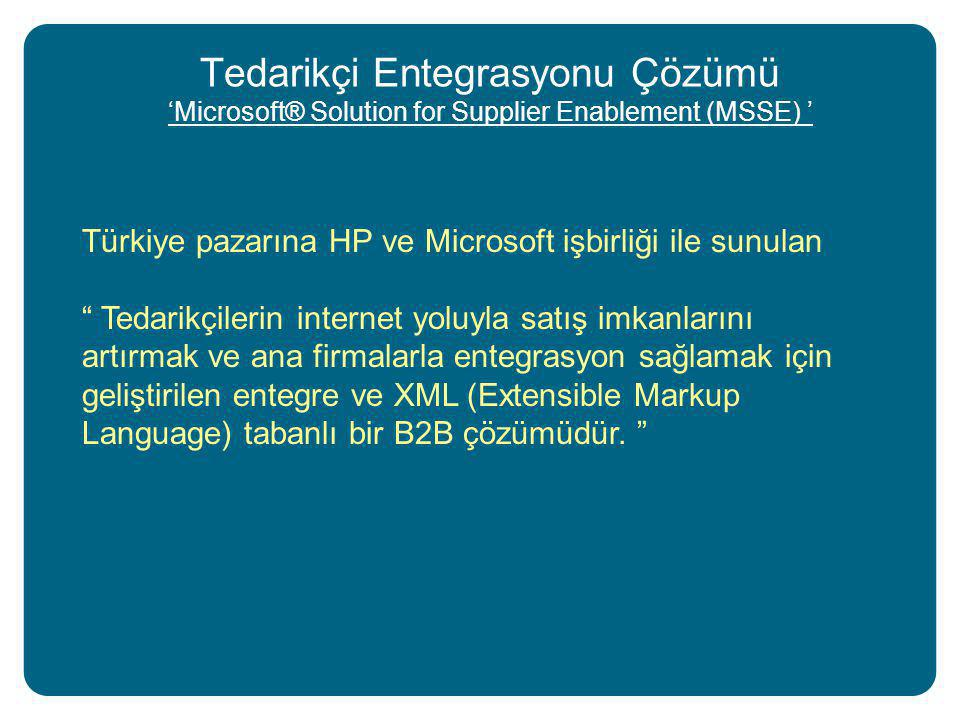 "Tedarikçi Entegrasyonu Çözümü 'Microsoft® Solution for Supplier Enablement (MSSE) ' Türkiye pazarına HP ve Microsoft işbirliği ile sunulan "" Tedarikçi"