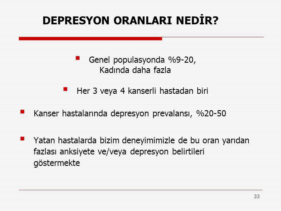 33  Genel populasyonda %9-20, Kadında daha fazla  Her 3 veya 4 kanserli hastadan biri  Kanser hastalarında depresyon prevalansı, %20-50  Yatan has