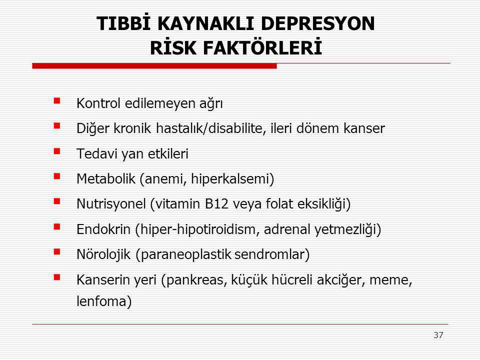 37  Kontrol edilemeyen ağrı  Diğer kronik hastalık/disabilite, ileri dönem kanser  Tedavi yan etkileri  Metabolik (anemi, hiperkalsemi)  Nutrisyo