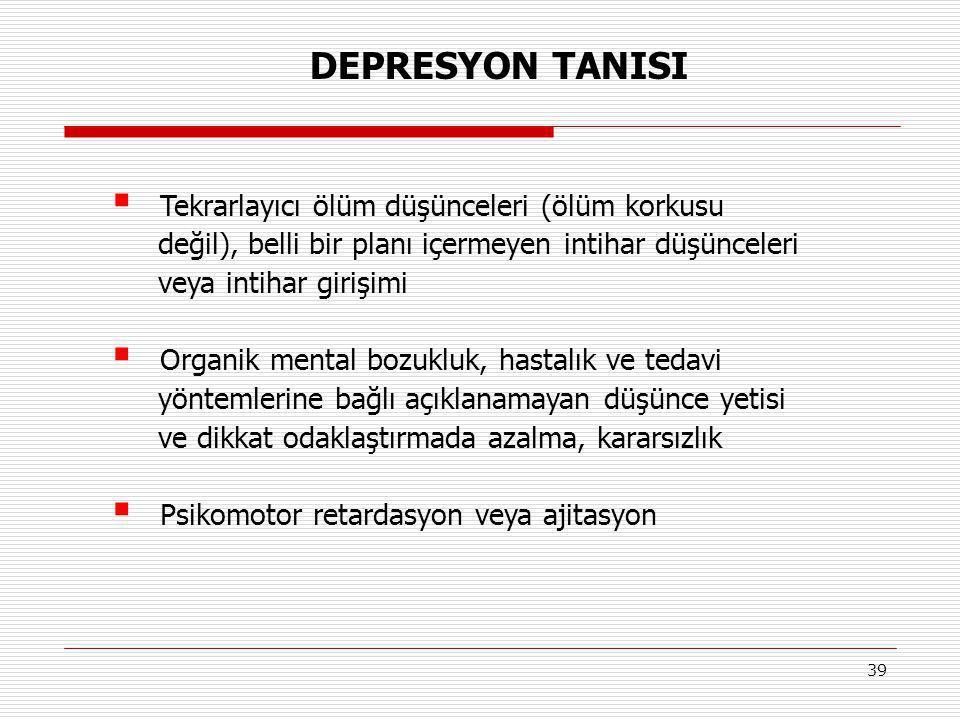 39  Tekrarlayıcı ölüm düşünceleri (ölüm korkusu değil), belli bir planı içermeyen intihar düşünceleri veya intihar girişimi  Organik mental bozukluk