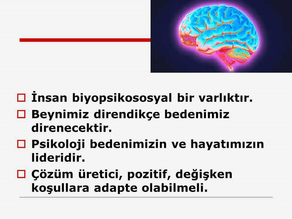  İnsan biyopsikososyal bir varlıktır.  Beynimiz direndikçe bedenimiz direnecektir.  Psikoloji bedenimizin ve hayatımızın lideridir.  Çözüm üretici