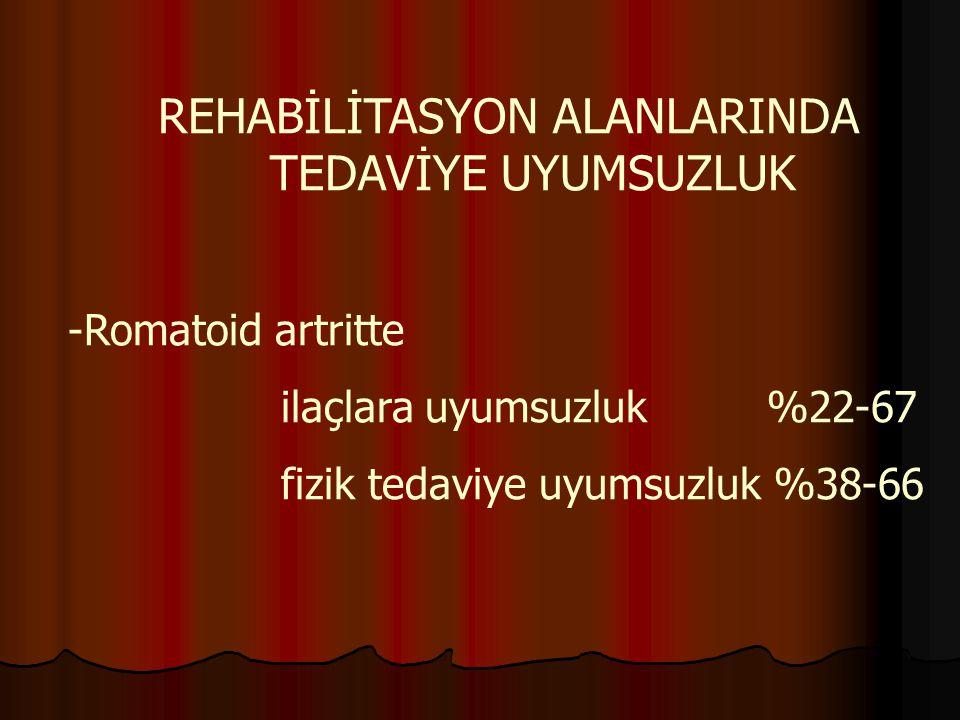 REHABİLİTASYON ALANLARINDA TEDAVİYE UYUMSUZLUK -Romatoid artritte ilaçlara uyumsuzluk %22-67 fizik tedaviye uyumsuzluk %38-66