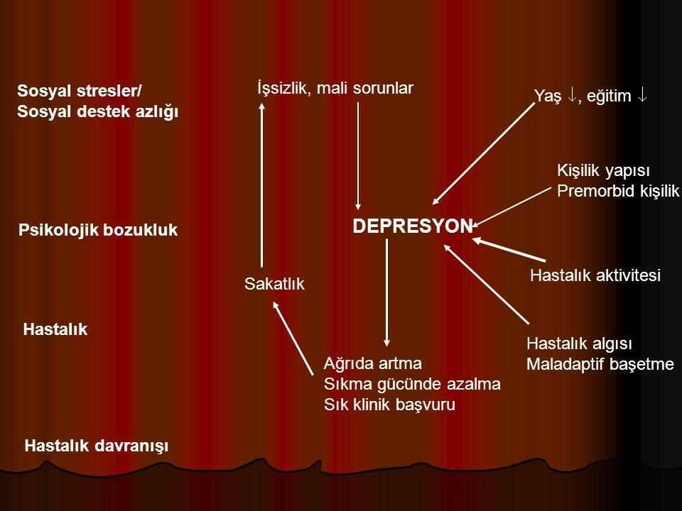 Sosyal stresler/ Sosyal destek azlığı Hastalık davranışı Psikolojik bozukluk Hastalık DEPRESYON İşsizlik, mali sorunlar Yaş , eğitim  Kişilik yapısı