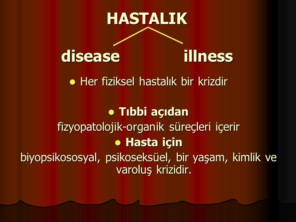 HASTALIK disease illness Her fiziksel hastalık bir krizdir Her fiziksel hastalık bir krizdir Tıbbi açıdan Tıbbi açıdan fizyopatolojik-organik süreçler