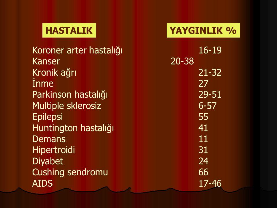 HASTALIKYAYGINLIK % Koroner arter hastalığı16-19 Kanser20-38 Kronik ağrı21-32 İnme27 Parkinson hastalığı29-51 Multiple sklerosiz6-57 Epilepsi55 Huntin