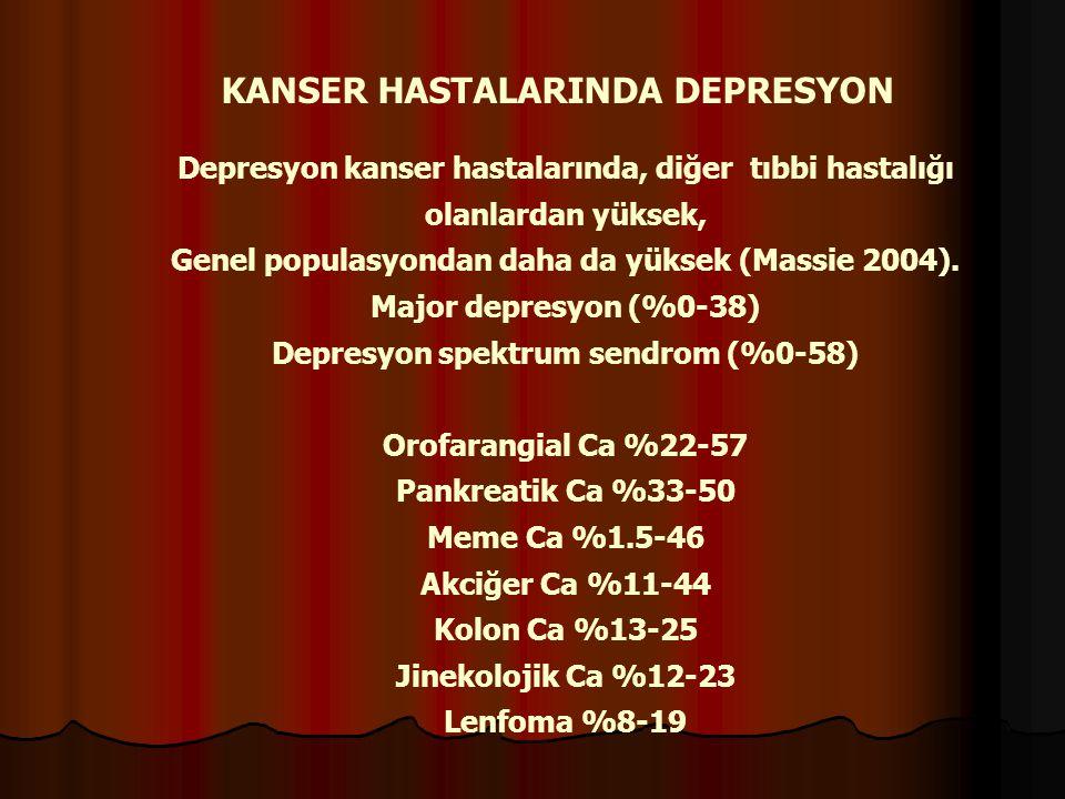 KANSER HASTALARINDA DEPRESYON Depresyon kanser hastalarında, diğer tıbbi hastalığı olanlardan yüksek, Genel populasyondan daha da yüksek (Massie 2004)