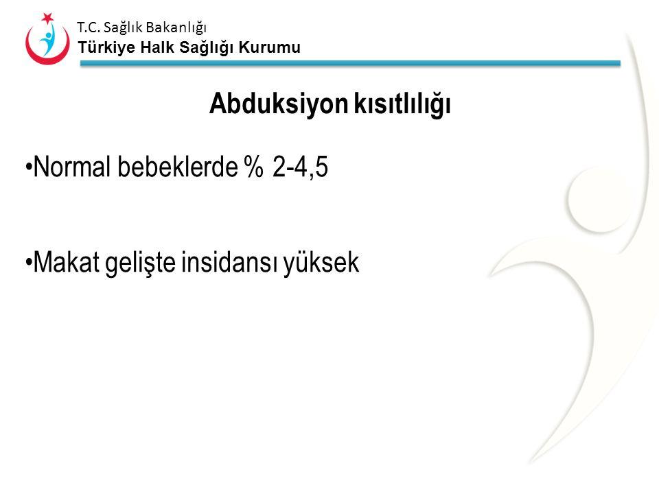 T.C. Sağlık Bakanlığı Türkiye Halk Sağlığı Kurumu Kalça hareketleri Y D fizyolojik fleksiyon kontraktürü Kalça abduksiyon muayenesi ; – kalça 90 fleks