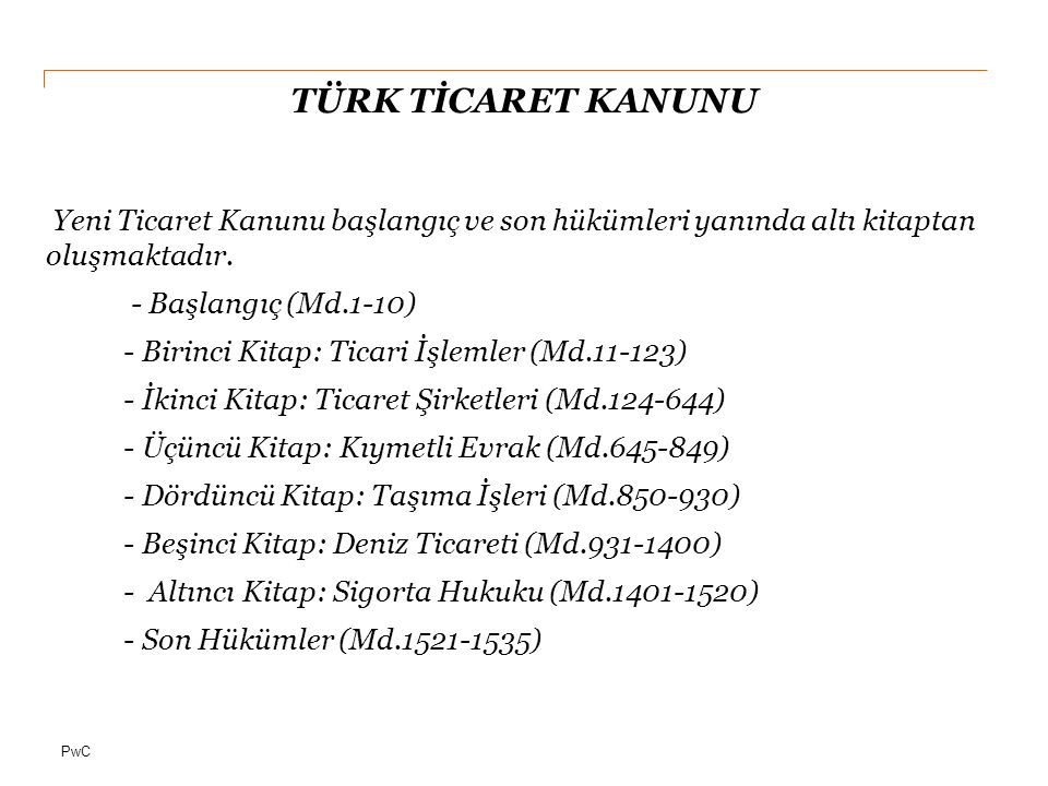 PwC TÜRK TİCARET KANUNU 11.