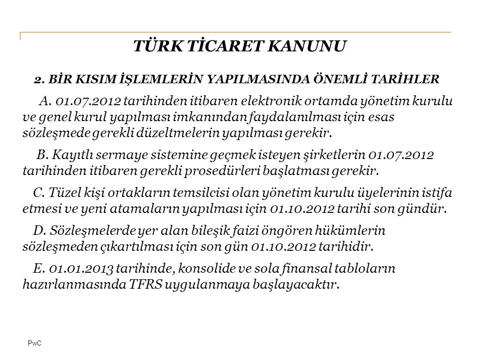 PwC TÜRK TİCARET KANUNU F.