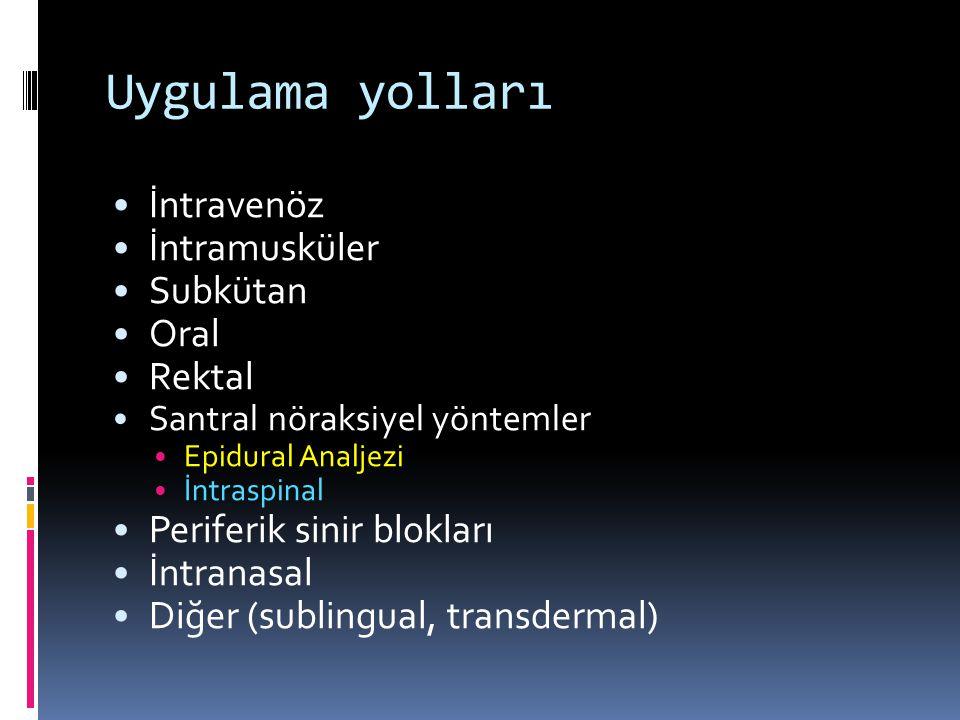 Uygulama yolları İntravenöz İntramusküler Subkütan Oral Rektal Santral nöraksiyel yöntemler Epidural Analjezi İntraspinal Periferik sinir blokları İntranasal Diğer (sublingual, transdermal)