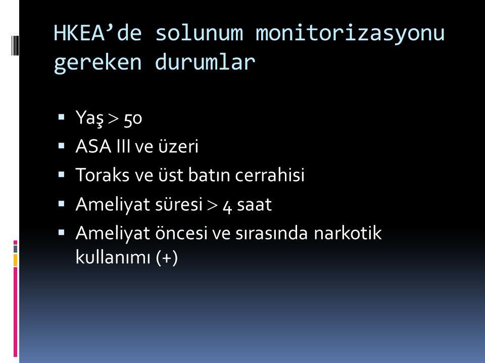 HKEA'de solunum monitorizasyonu gereken durumlar  Yaş  50  ASA III ve üzeri  Toraks ve üst batın cerrahisi  Ameliyat süresi  4 saat  Ameliyat öncesi ve sırasında narkotik kullanımı (+)