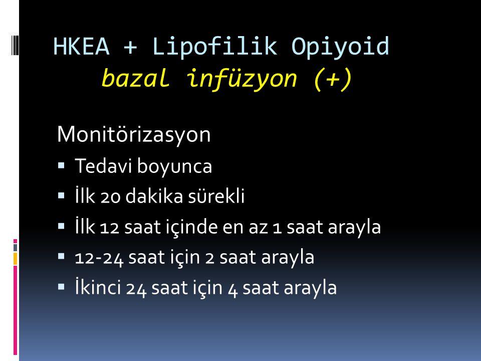HKEA + Lipofilik Opiyoid bazal infüzyon (+) Monitörizasyon  Tedavi boyunca  İlk 20 dakika sürekli  İlk 12 saat içinde en az 1 saat arayla  12-24 saat için 2 saat arayla  İkinci 24 saat için 4 saat arayla