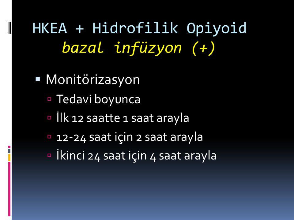 HKEA + Hidrofilik Opiyoid bazal infüzyon (+)  Monitörizasyon  Tedavi boyunca  İlk 12 saatte 1 saat arayla  12-24 saat için 2 saat arayla  İkinci 24 saat için 4 saat arayla