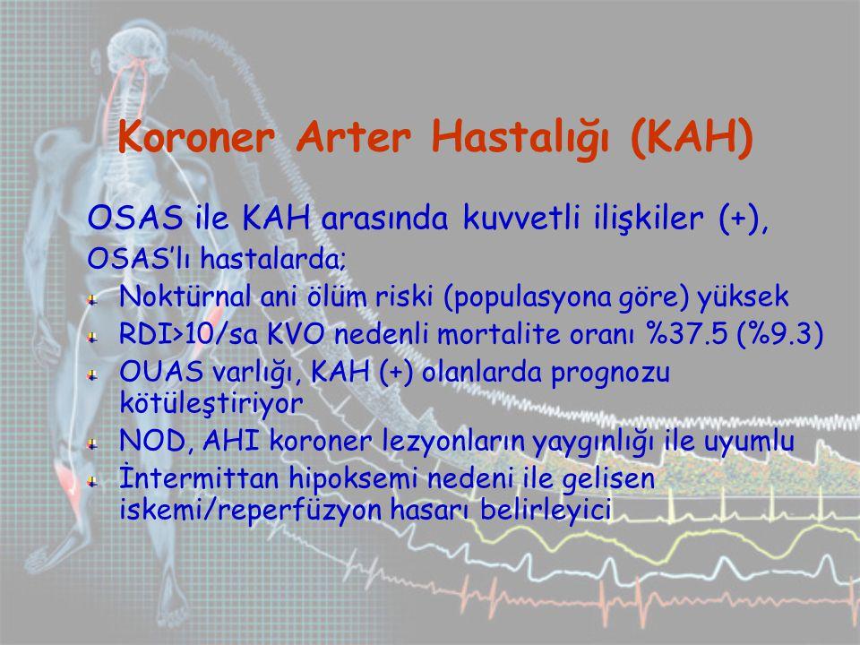 Koroner Arter Hastalığı (KAH) OSAS ile KAH arasında kuvvetli ilişkiler (+), OSAS'lı hastalarda; Noktürnal ani ölüm riski (populasyona göre) yüksek RDI>10/sa KVO nedenli mortalite oranı %37.5 (%9.3) OUAS varlığı, KAH (+) olanlarda prognozu kötüleştiriyor NOD, AHI koroner lezyonların yaygınlığı ile uyumlu İntermittan hipoksemi nedeni ile gelisen iskemi/reperfüzyon hasarı belirleyici