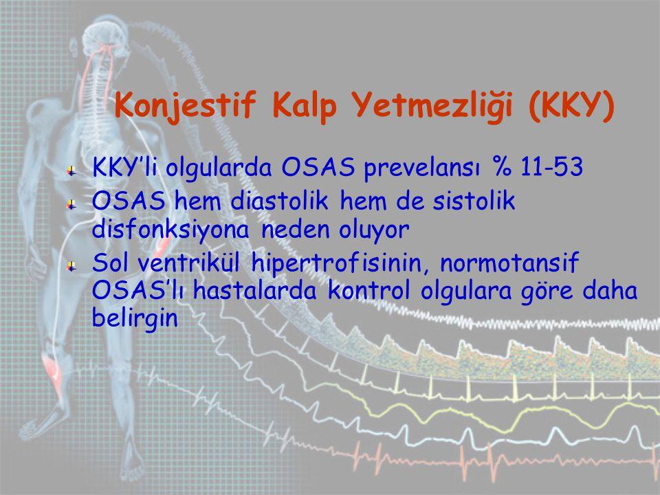 Konjestif Kalp Yetmezliği (KKY) KKY'li olgularda OSAS prevelansı % 11-53 OSAS hem diastolik hem de sistolik disfonksiyona neden oluyor Sol ventrikül hipertrofisinin, normotansif OSAS'lı hastalarda kontrol olgulara göre daha belirgin