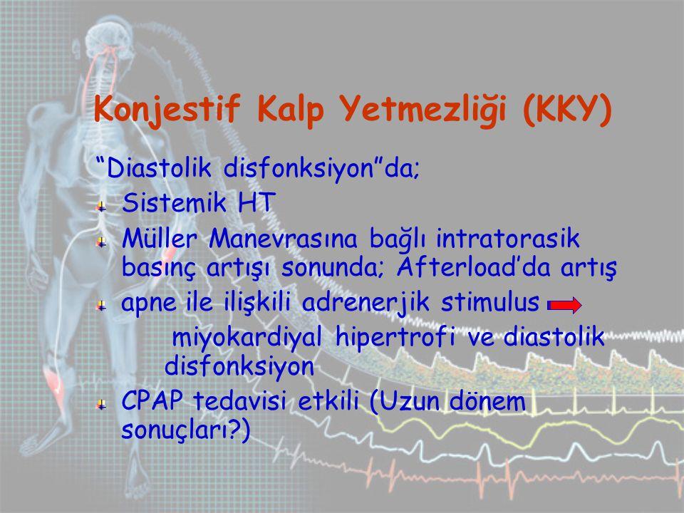 Konjestif Kalp Yetmezliği (KKY) Diastolik disfonksiyon da; Sistemik HT Müller Manevrasına bağlı intratorasik basınç artışı sonunda; Afterload'da artış apne ile ilişkili adrenerjik stimulus miyokardiyal hipertrofi ve diastolik disfonksiyon CPAP tedavisi etkili (Uzun dönem sonuçları?)