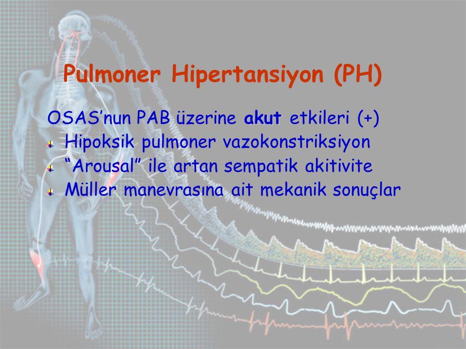 Pulmoner Hipertansiyon (PH) akut OSAS'nun PAB üzerine akut etkileri (+) Hipoksik pulmoner vazokonstriksiyon Arousal ile artan sempatik akitivite Müller manevrasına ait mekanik sonuçlar