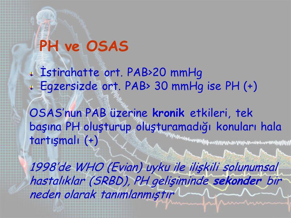 PH ve OSAS İstirahatte ort.PAB>20 mmHg Egzersizde ort.