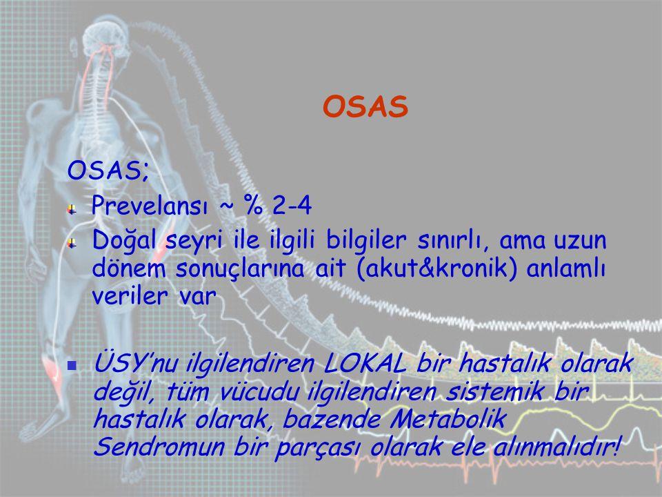 OSAS OSAS ; Prevelansı ~ % 2-4 Doğal seyri ile ilgili bilgiler sınırlı, ama uzun dönem sonuçlarına ait (akut&kronik) anlamlı veriler var ÜSY'nu ilgilendiren LOKAL bir hastalık olarak değil, tüm vücudu ilgilendiren sistemik bir hastalık olarak, bazende Metabolik Sendromun bir parçası olarak ele alınmalıdır!