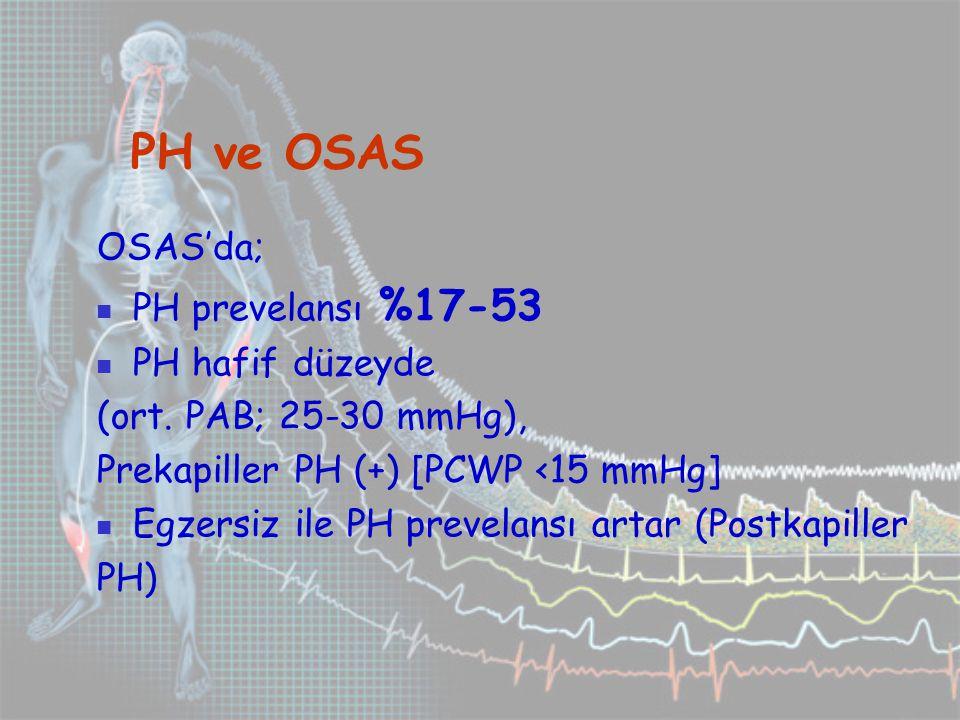 PH ve OSAS OSAS'da; PH prevelansı %17-53 PH hafif düzeyde (ort.