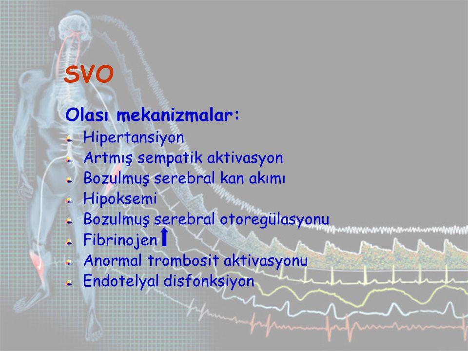 SVO Olası mekanizmalar: Hipertansiyon Artmış sempatik aktivasyon Bozulmuş serebral kan akımı Hipoksemi Bozulmuş serebral otoregülasyonu Fibrinojen Anormal trombosit aktivasyonu Endotelyal disfonksiyon