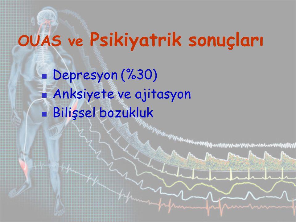OUAS ve Psikiyatrik sonuçları Depresyon (%30) Anksiyete ve ajitasyon Bilişsel bozukluk