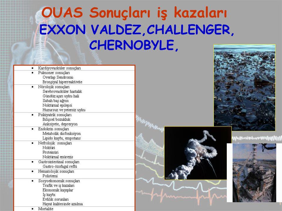 OUAS Sonuçları iş kazaları EXXON VALDEZ,CHALLENGER, CHERNOBYLE,