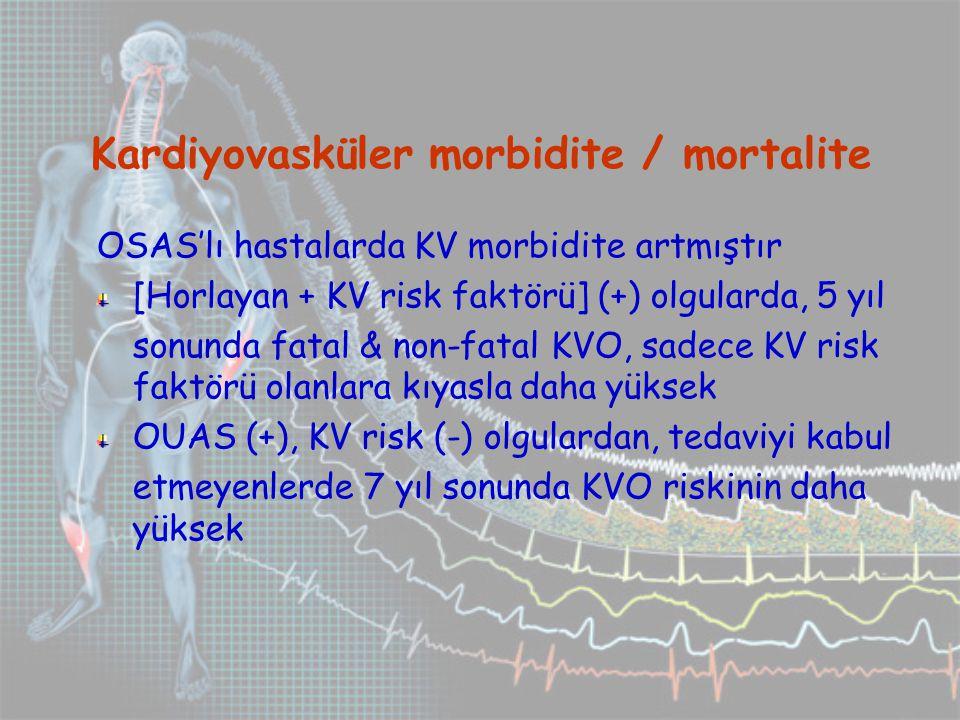 Kardiyovasküler morbidite / mortalite OSAS'lı hastalarda KV morbidite artmıştır [Horlayan + KV risk faktörü] (+) olgularda, 5 yıl sonunda fatal & non-fatal KVO, sadece KV risk faktörü olanlara kıyasla daha yüksek OUAS (+), KV risk (-) olgulardan, tedaviyi kabul etmeyenlerde 7 yıl sonunda KVO riskinin daha yüksek