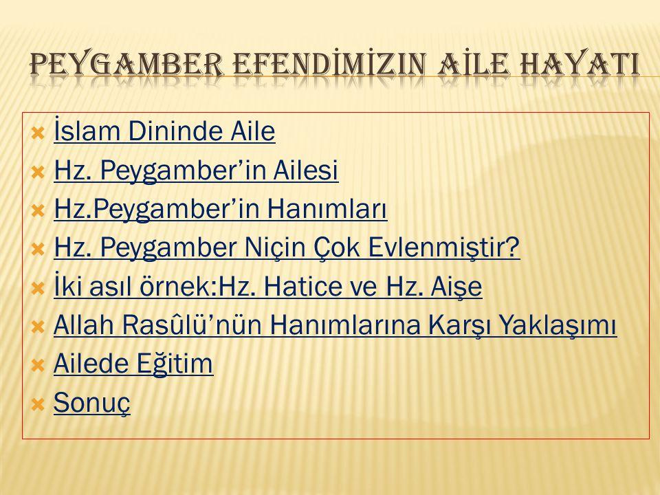  İslam Dininde Aile İslam Dininde Aile  Hz.Peygamber'in Ailesi Hz.