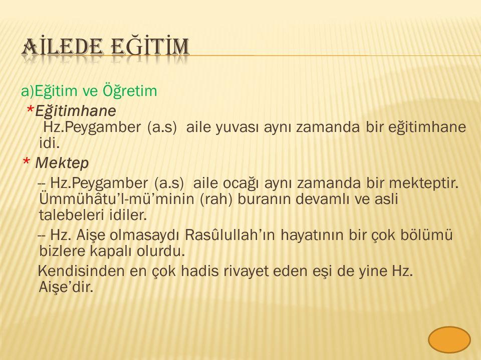 a)Eğitim ve Öğretim *Eğitimhane Hz.Peygamber (a.s) aile yuvası aynı zamanda bir eğitimhane idi.
