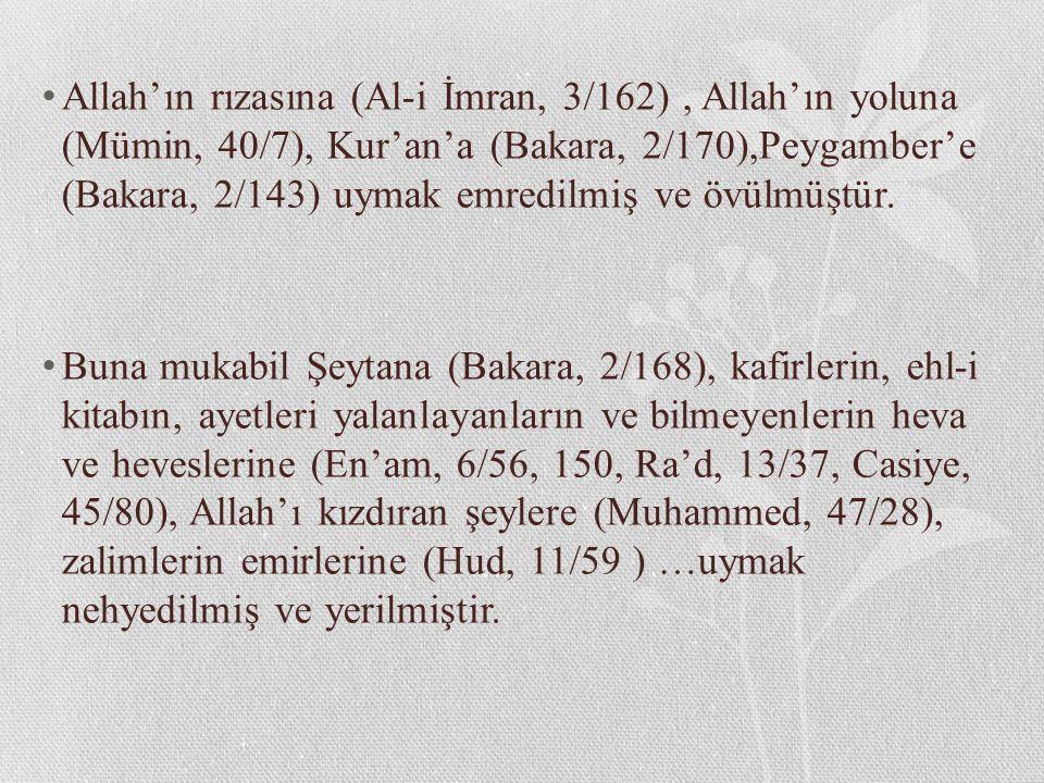 Allah'ın rızasına (Al-i İmran, 3/162), Allah'ın yoluna (Mümin, 40/7), Kur'an'a (Bakara, 2/170),Peygamber'e (Bakara, 2/143) uymak emredilmiş ve övülmüş