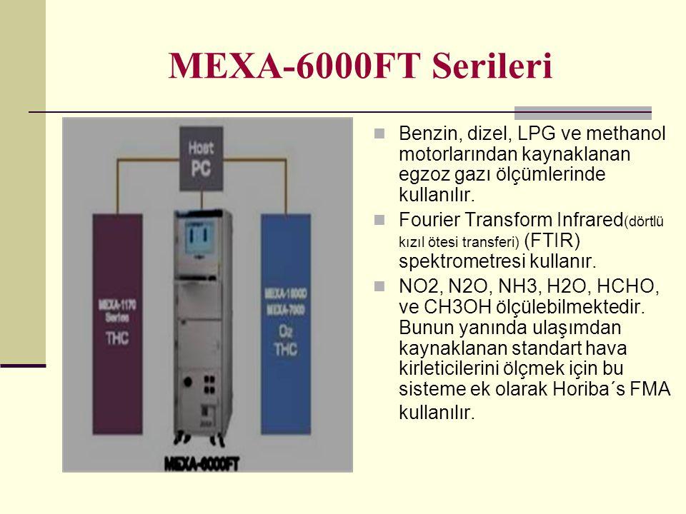 MEXA-6000FT Serileri Benzin, dizel, LPG ve methanol motorlarından kaynaklanan egzoz gazı ölçümlerinde kullanılır. Fourier Transform Infrared (dörtlü k