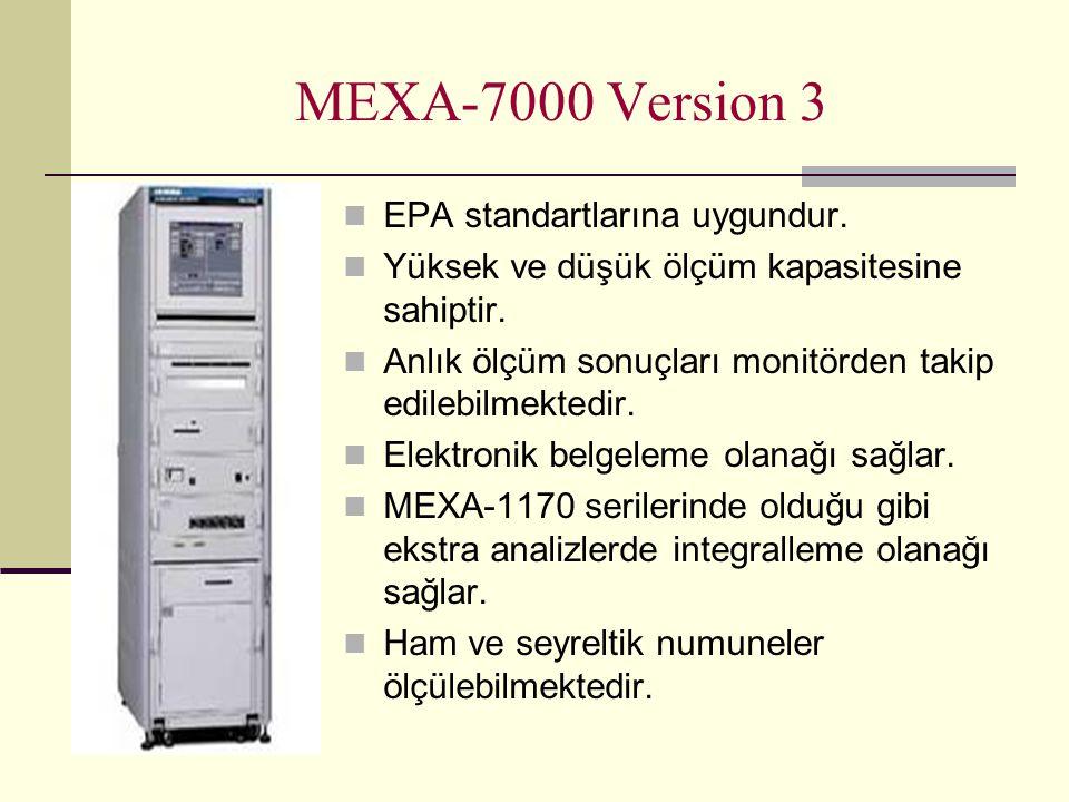 MEXA-7000 Version 3 EPA standartlarına uygundur. Yüksek ve düşük ölçüm kapasitesine sahiptir. Anlık ölçüm sonuçları monitörden takip edilebilmektedir.