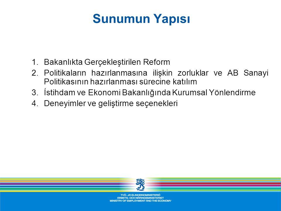 Kurumsal İşleyiş Modeli Kurumsal Yapı ve Verimlilik Kurumsal Yapı ve Verimlilik  MEE 2010 reform programı Stratejik değerlendirmeler Sinerji analizleri Kilit işlev analizleri  MEE 2012 reform programı (hazırlanıyor)