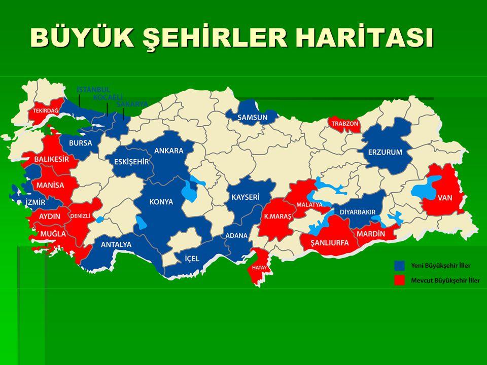 Mevcut ve Yeni Büyükşehirler Büyükşehirler Mevcut İl Nüfusu (2011)Yeni (2011) 1.